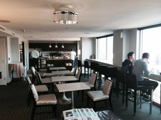 The interior of the Sheraton Tribeca's Club Lounge