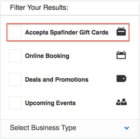 SpaFinder gift card filter