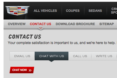 To avoid potential waits on the phone, schedule your appointment via the red-button chat feature of Cadillac's site