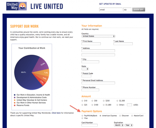 United Way allows you to make donations using just about any points-earning credit card.