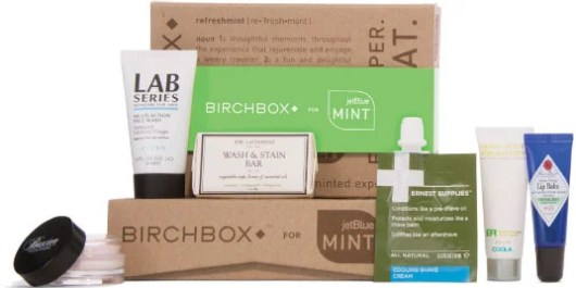 Mint's amenity kits include products curated by Birchbox.