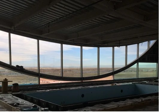 This is the hotel pool under construction with a heck of a view!