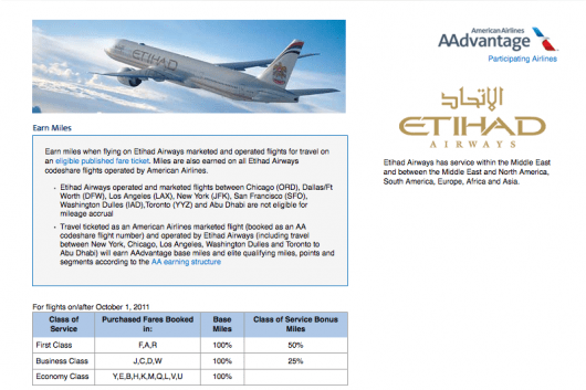 Etihad is partners with American.