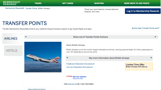 Amex is offering a 40% transfer bonus to British Airways through January 31 - so now is the time to maximize your points!