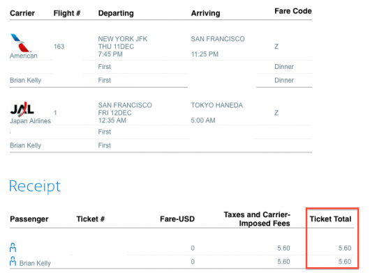 JFK SFO HND Ticket Price