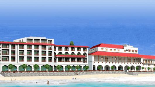 A rendering of the Park Hyatt Zanzibar on the beach in Stone Town.