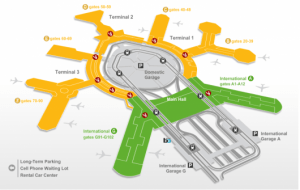 Map of San Francisco Airport.