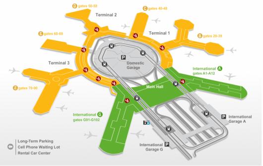 Map of San Francisco Airport.