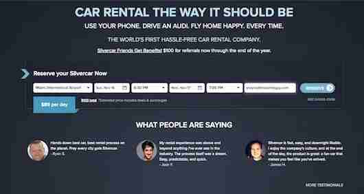 The homepage for making reservations with SilverCar.