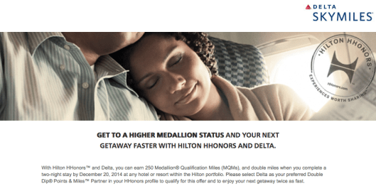 Through December 20th, you can earn 250 MQMs on Hilton stays of two or more nights,
