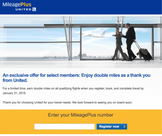 United Airlines sent out a targeted promotion to some MileagePlus members for double miles.
