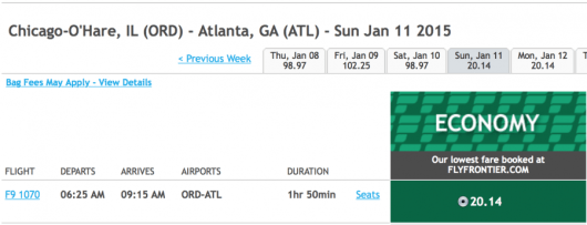 Fly from Chicago to Atlanta for $20 one-way.