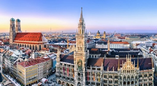 A winter scene of Munich, one of the European cities to which United is offering 20%-off awards