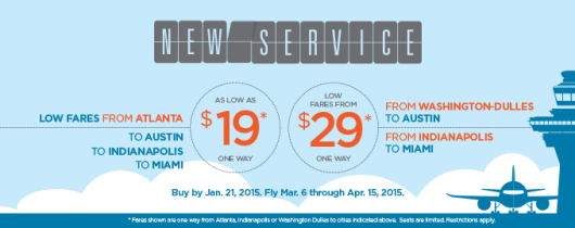 Frontier is offering a one-day sale with $19 fares.