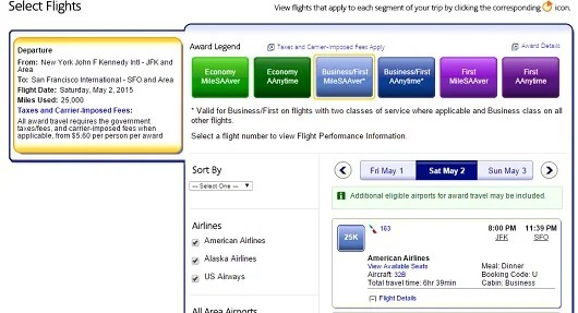 An example of saver award availability of transcontinental service with AA's  domestic lie-flat business class product