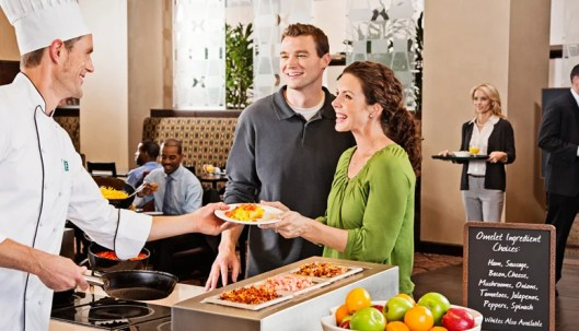 Embassy Suites is one chain in the Hilton portfolio that offers free breakfast to all guests.