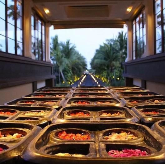 Fresh flowers and an open air lobby.