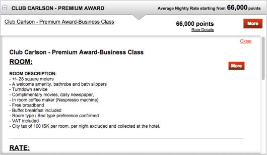 Club Carlson Premium Redemption