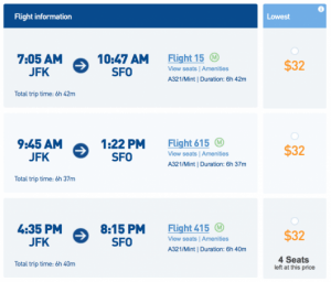 Fly from New York (JFK) to San Francisco (SFO) for $32!