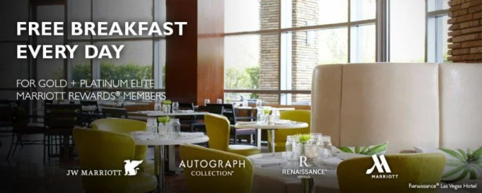 Get free breakfast at the Marriott if you are Gold or Platinum Elite member