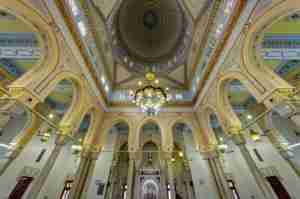 Ornate ceiling of the Jumeirah Mosque. Photo courtesy of Shutterstock.