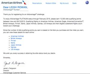 american airlines platinum challenge