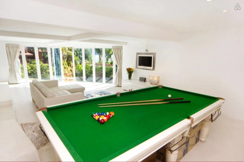 One of my favorite rentals came with a pool table and ocean views in Koh Samui,  Thailand.