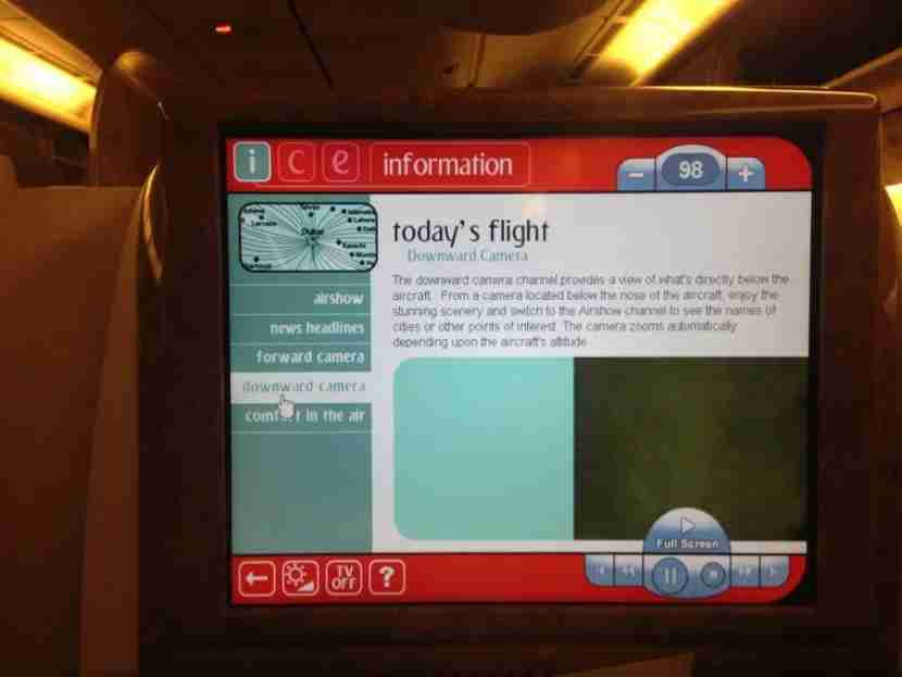 The Downward Camera channel on Emirates