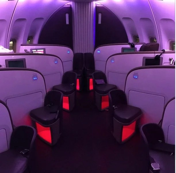 Mood lighting on plane - love it or hate it? This pic was shot as I was deplaning from the nose of Mustang Sally.