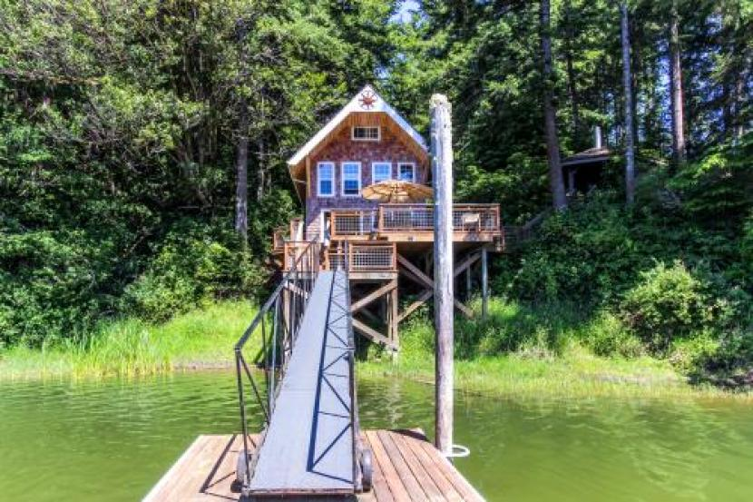 Vacasa offers some unique rentals, like this Oregon boat-access only cabin