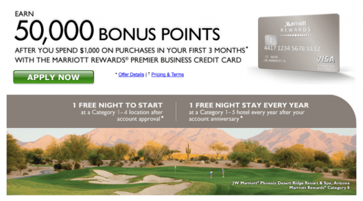The sign-up bonus on the business version of the Marriott Premier Visa will boost your account significantly.
