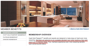 "Hyatt prominently displays their ""No blackout dates"" policy online."