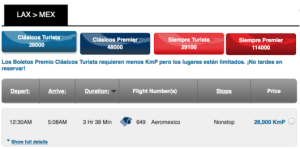 You can fly from Los Angeles-Mexico for 28,,000 kpn