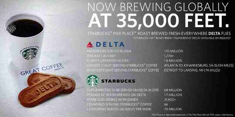 Delta recently announced that it would begin serving Starbucks on all flights