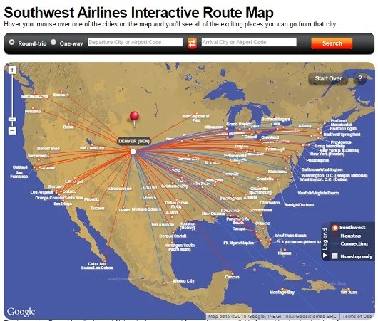Denver is a major hub for Southwest, and two free checked bags per person is great for skiers.