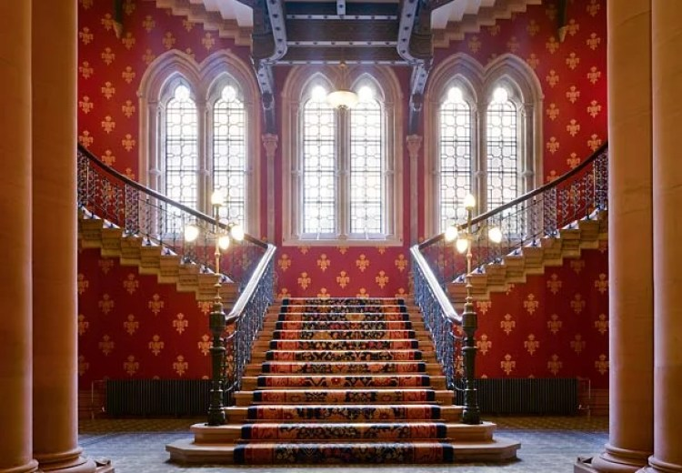 Grand staircase of the Marriott Category 9 St. Pancras Renaissance London Hotel