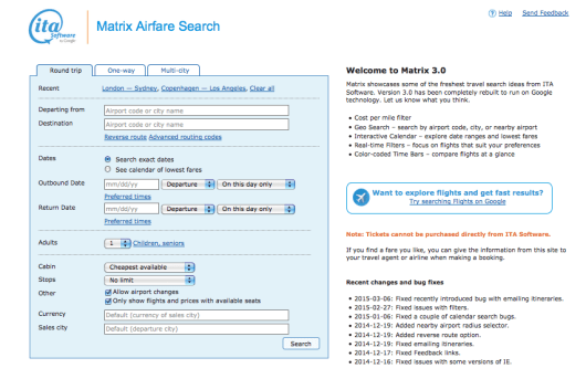 The ITA Matrix has been one of the most useful airfare search tools out there.