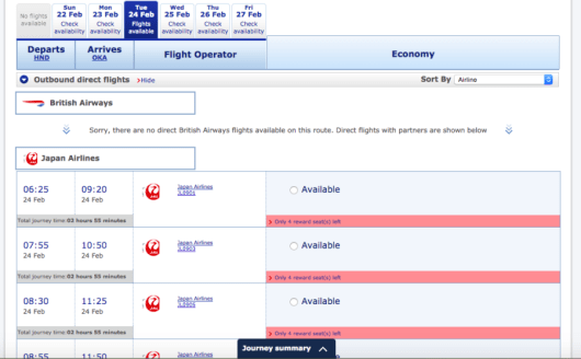 BritishAirways.com always shows plenty of Japan Airlines domestic flights available for Avios redemptions.