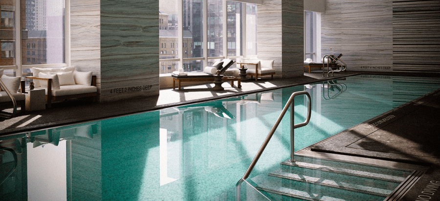 The gorgeous pool at the Park Hyatt New York