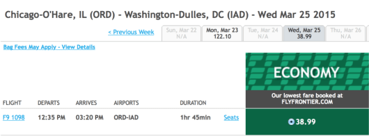 Fly from Chicago-O'Hare to Washington-Dulles for $39 one-way.