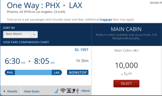 You can book Phoenix-Los Angeles one-way for 10,000 miles each-way.