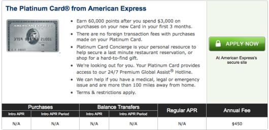 American Express Platinum 60,000 sign-up bonus through CardMatch