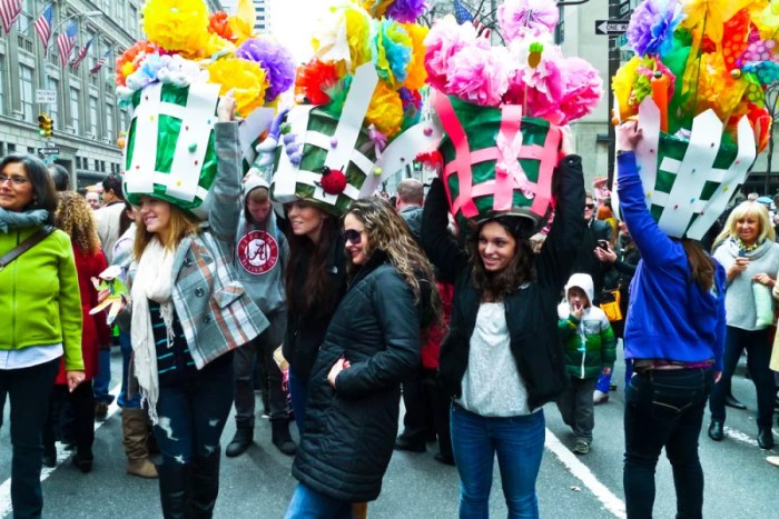 Festive toppers at the New York Easter Bonnet Parade. Photo courtesy of Donald Bowers Photography/Shutterstock