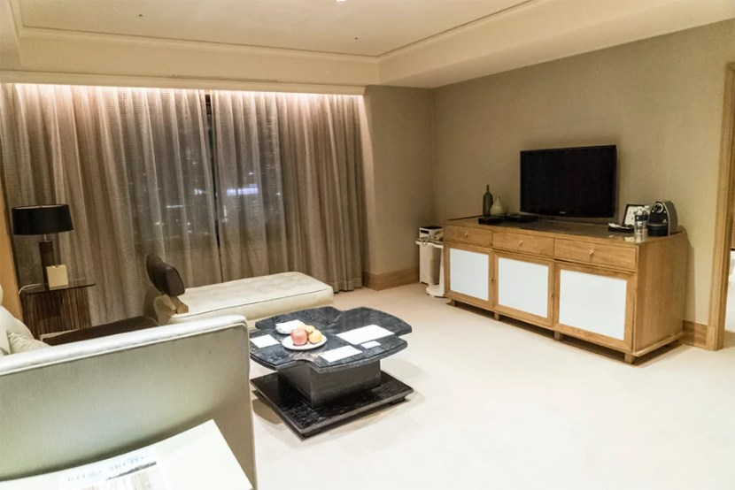My minimalist, chic living room in my suite at the Ritz-Carlton, Seoul.
