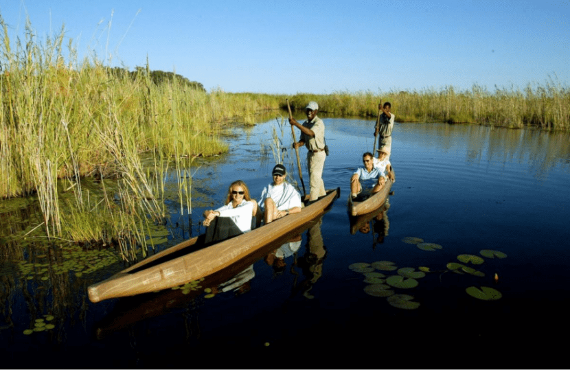 Visitors can explore parts of the Okavango Delta by canoe. Photo courtesy of Botswana Tourism.