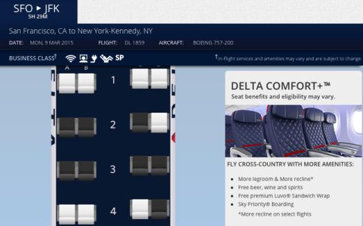 Delta SFO-JFK seat map 1
