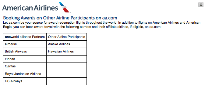AA.com award airlines