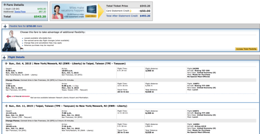 Newark to Taipei for $543.20 round-trip on United.