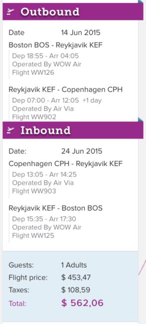 Round-trip Boston to Copenhagen for