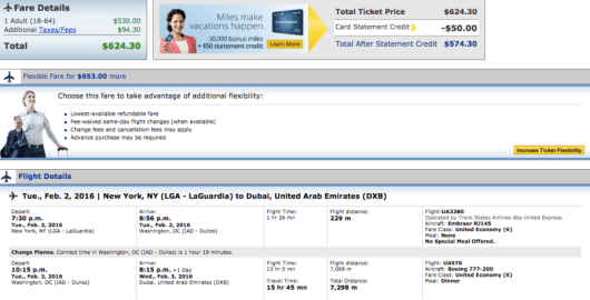 New York-Dubai booking through United.